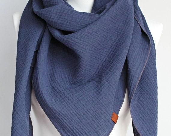Cotton muslin women scarf shawl, cotton triangle scarf  - soft autumn scarf shawl scarf for women, cotton shawl wrap