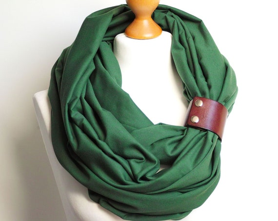 GREEN Infinity SCARF, large Shawl Loop with leather clasp/cuff bracelet, oversized infinity scarf, cotton scarf, tube scarf, nursing scarf