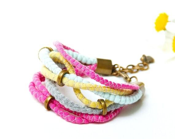 Colorful bracelet, cotton  bracelet, summer accessories, bracelet upcycled jersey, summer bracelet, friendship bracelet, textile jewelry