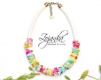 Textile necklace, statement necklace, women textile necklace, necklace for mom, simple necklace,  necklaces for women, colorful necklaces