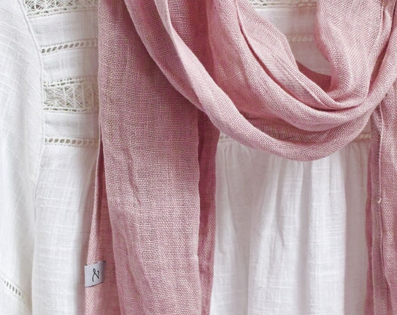 Extra skinny linen scarf - washed natural linen scarf - all season SHAWL  for women - pure linen - natural scarf - eco scarf fashion