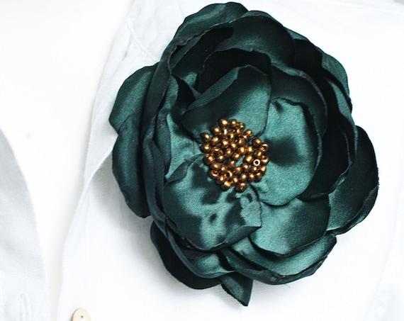 Bottle green flower Pin brooch for (dress) handmade fabric floral brooch, women accessories, flower pin button for dresses