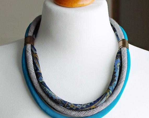 FABRIC women necklace, statement textile necklace, fabric jewelry, fashion gift ideas, necklace, bib necklace, mum gift idea