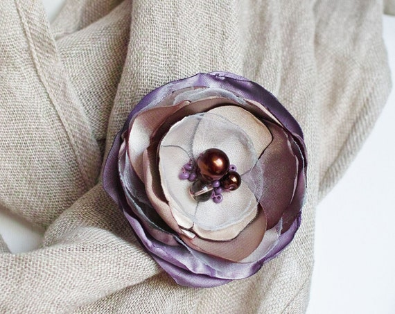 Fabric Flower BROOCH Pin for dress, small gift ideas for her - flower Pin Organza Satin handmade, floral brooch corsage