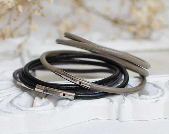 Leather bracelets SET of 3, leather cord bracelets, boho style leather cuff, women bracelet set of three, bangles, stacking bracelets