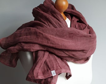 Soft linen scarf in MARSALA, natural scarf SHAWL for women, pure linen, linen travel wrap, natural scarf, eco fashion, travel linen wrap
