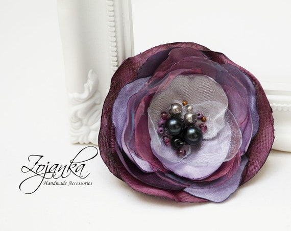 Fabric flower BROOCH Pin Petal Flower Pin Organza handmade pin, violet floral brooch corsage, elegant flower brooches, gift ideas for her