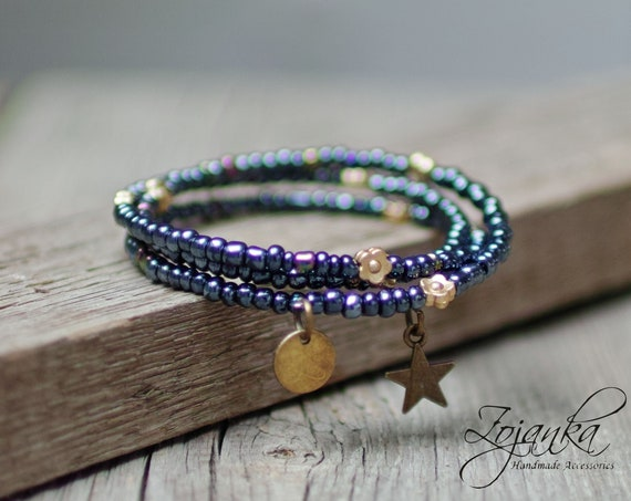 BOHO seed beads bracelet on memory wire for women, boho bracelet for women, bohemian bracelets, women accessories