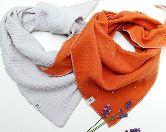 SET of TWO cotton muslin neck face scarf mask, cotton bandana scarf for women, soft neck scarf face mask