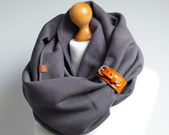 CHUNKY SCARF, extra CHUNKY infinity Scarf with leather cuff, hooded scarves infinity scarf, charcoal snood, hooded scarf, cotton scarf