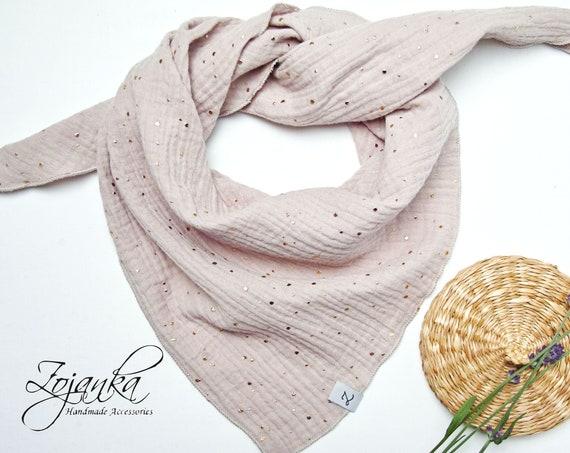Cotton muslin neck scarf bandana face mask, cotton bandana triangle scarf  - soft neck scarf - soft bandana scarf for women