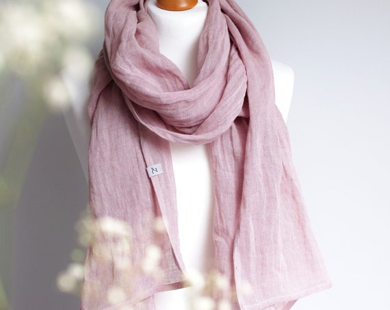 Softened LINEN skinny scarf - washed natural linen scarf - all season SHAWL  for women - pure linen - natural scarf - eco scarf fashion