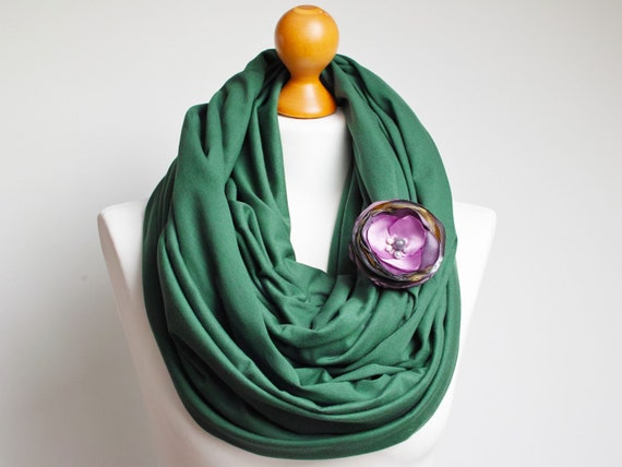 SPRING infinity scarf with flower pin, women infinity scarf cotton infinity cotton scarf wrap, tube scarf