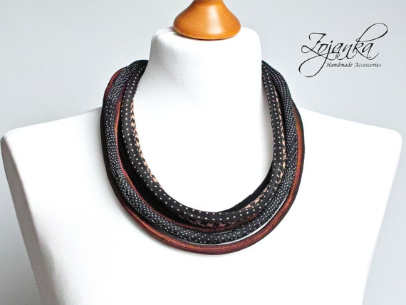 FABRIC necklace, statement textile necklace, fabric jewelry, fashion gift ideas, necklace, bib necklace, mum gift idea