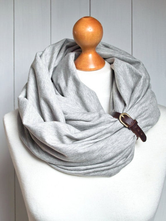 GREY infinity scarf with leather strap, infinity scarves ZOJANKA, basic scarf, mediumweight scarf, women accessories, scarves,