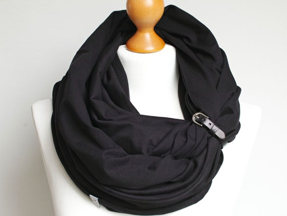 BLACK cotton infinity scarf for women, lightweight cotton tube scarf with leather cuff for spring autumn