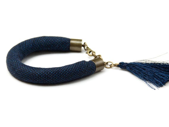 TASSEL bracelet, cotton  bracelet, summer accessories, braided bracelet , bracelet with tassel, braided bracelet, navy blue linen bracelet