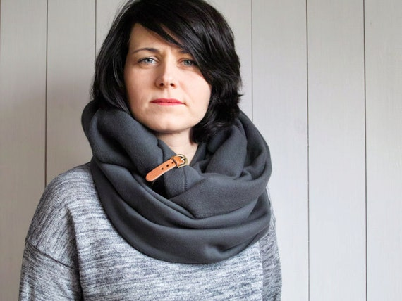 CHUNKY Infinity Scarf with leather cuff, winter fashion infinity scarf, charcoal snood, jersey snppd, hooded scarf