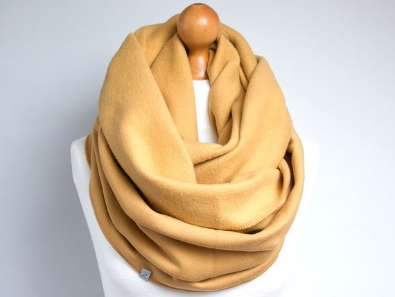 Infinity Scarf, hooded infinity scarf, HONEY yellow jersey infinity scarf, oversized scarf, cozy chunky scarf, gift for her, gift ideas