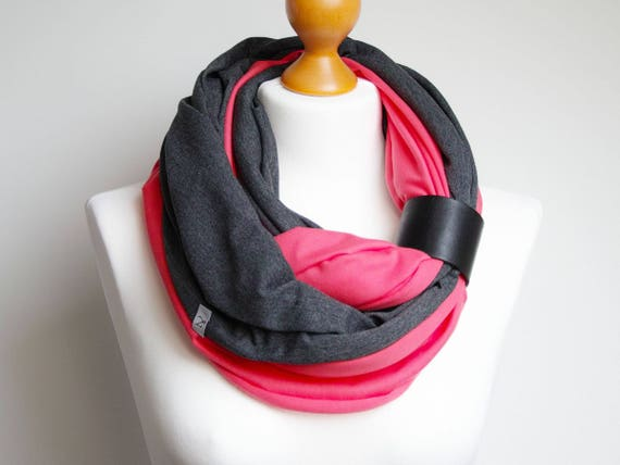 PINK infinity scarf with leather band, infinity scarves for women, cotton lightweight infinity scarf, spring scarves, casual scarf