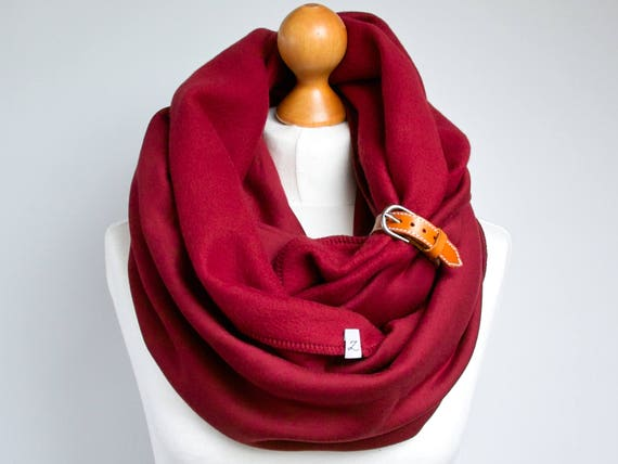 BURGUND Infinity Scarf with leather cuff for winter - tube scarf with cuff - soft hooded scarf - fashion scarf with leather strap