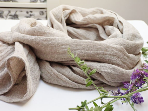 Washed linen scarf, natural linen scarf, SHAWL wrap women, pure linen, natural scarf, eco scarf fashion, gift for her, linen accessories