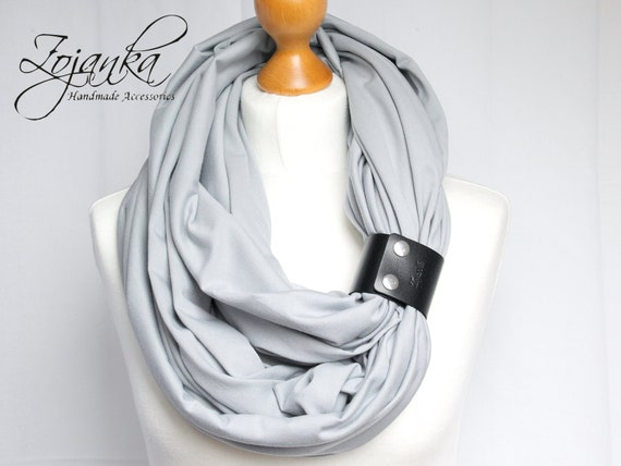 Infinity SCARF, large Shawl Loop with leather clasp/cuff bracelet, oversized infinity scarf, cotton scarf, tube scarf, nursing scarf