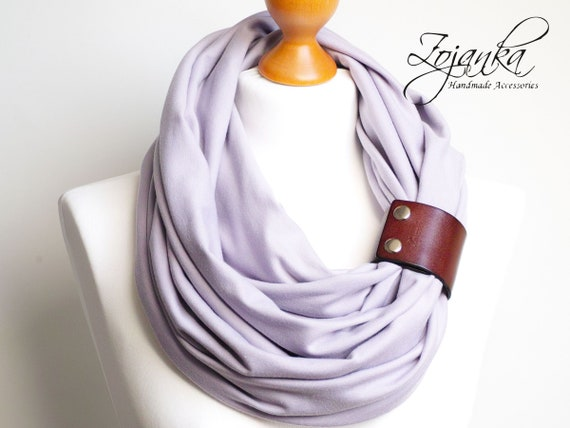 Lavender inifinity scarf with strap, high street fashion infinity scarf with leather strap, infinity scarves ZOJANKA, scarf wrap shawl