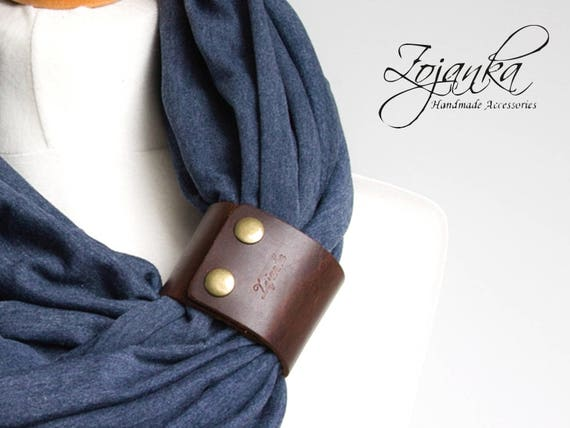 Infinity Scarf with leather cuff, COTTON Loop with leather cuff, infinity scarf women scarf, fashion scarf, scarf with strap, ZOJANKA