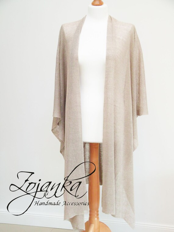 Linen poncho women wrap, fashion lightweight poncho wrap, women beige poncho made of linen, eco baltic linen shawl wrap throwover