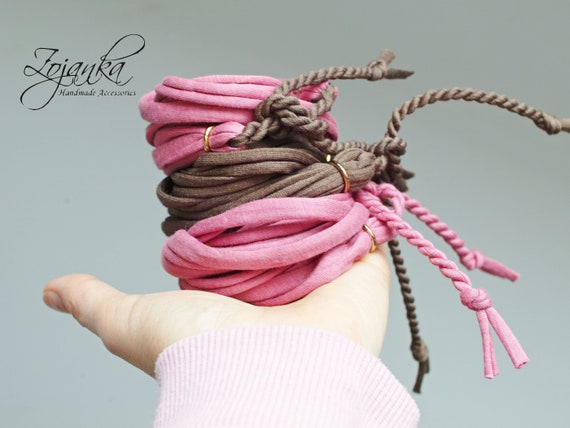 PINK wrapping cotton bracelet for women, cotton bracelet, summer accessories, wrap bracelet gray, friendship bracelet
