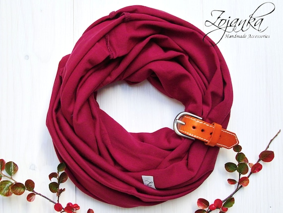 KIDS Infinity Scarf with leather strap, BURGUND kids scarf, kids aCcessories,  6-9 years old, accessories for kids, handmade scarf cotton