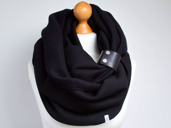 BLACK SCARF with leather strap, extra CHUNKY Infinity Scarf with leather cuff, winter fashion infinity scarf, black chunky scarf, gift idea