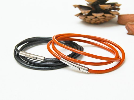 Leather bracelets SET of 2, leather cord bracelets, boho style leather cuff, bracelet set of two, bangles, stacking bracelets, jewelry