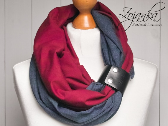 Infinity scarf with leather cuff, infinity scarves by ZOJANKA, lightweight scarf made of two scarves, dark red and jeans blue scarf