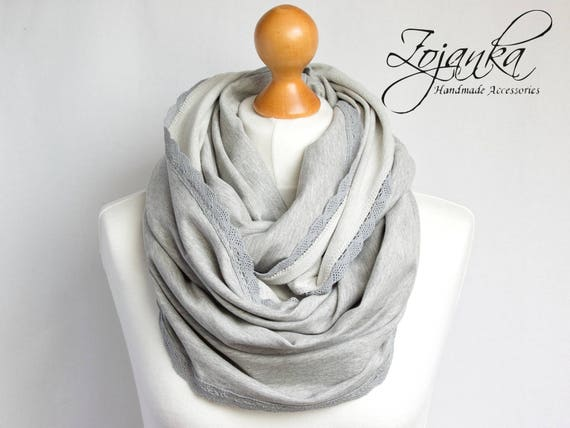 GRAY jersey Infinity Scarf, infinity scarf, knitted jersey infinity scarf, FALL spring scarf, fashion accessories, autumn scarf, gray scarf