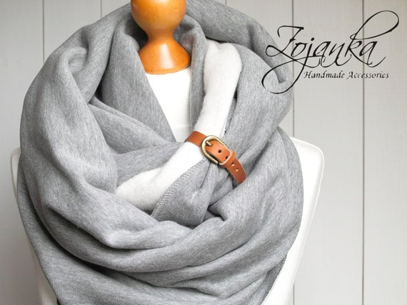 EXTRA CHUNKY Infinity Scarf with leather cuff, fashion infinity scarf, cozy SNOOD,hooded scarf, cotton jersey scarf, winter scarf