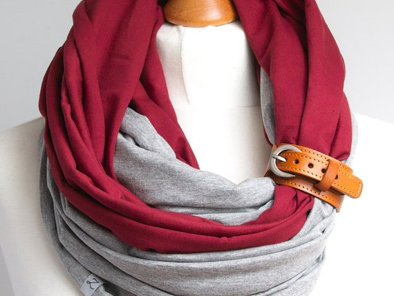 Infinity scarf with leather cuff, infinity scarves by ZOJANKA, lightweight scarf made of two colours, grey and maroon, women scarf, gift
