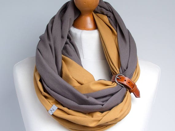Scarf with leather cuff, infinity scarf, lightweight scarf made of two scarves, beige and honey scarf with cuff, cotton scarf, two colored