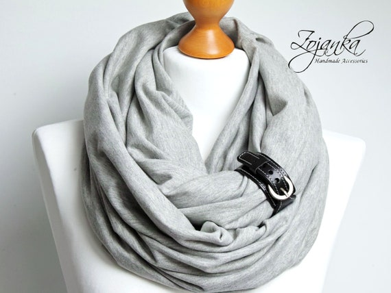GRAY Infinity scarf with leather cuff, women infinity scarves tube scarf, scarves wraps for winter, casual scarf with leather strap