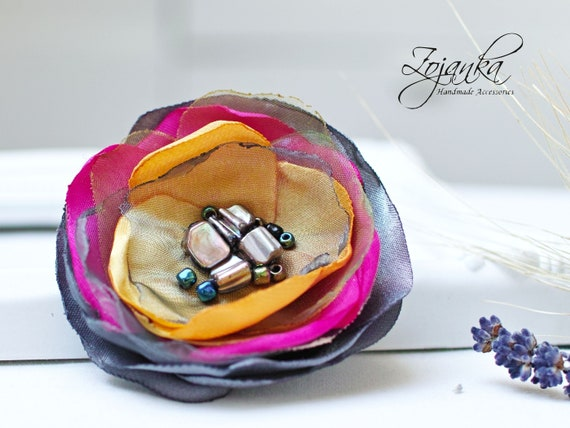 Fabric flower BROOCH Pin Petal Flower Pin Organza handmade pin for women, floral brooch corsage, elegant flower brooches, gift ideas for her
