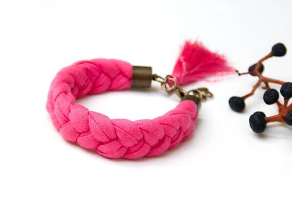 TASSEL bracelet, cotton  bracelet, women accessories, braided bracelet upcycled jersey, pink summer bracelet, friendship bracelet, gift idea