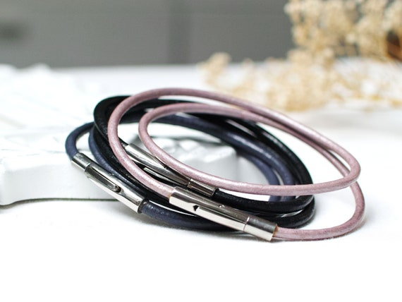 Leather bracelets SET of 3, leather cord bracelets, boho style leather cuff, women bracelet set of three, bangles, stacking bracelets