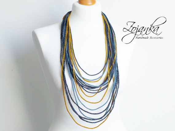 LONG layered necklace for women, fabric colorful necklace, fashion multi strand necklace in blue shades