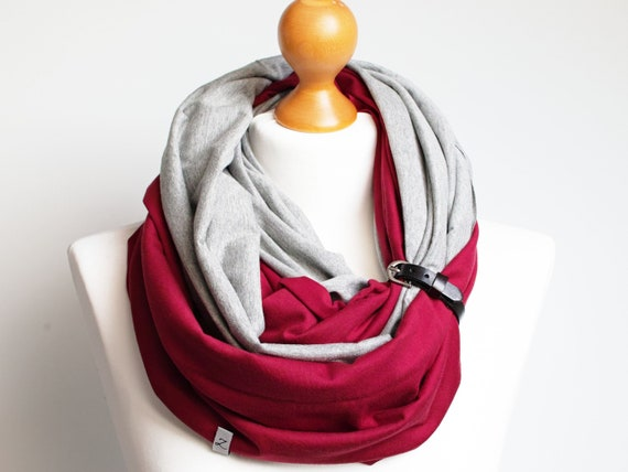 Cotton infinity scarf with leather cuff, infinity scarves for women, lightweight scarf made of two colours, grey and maroon, women scarf