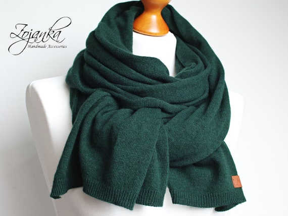 Winter wool scarf DARK GREEN scarf, wool scarf for women, gift ideas for her, winter fashion accessories, scarf for winter, shawl wrap
