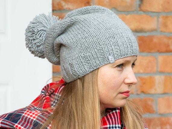 Chunky winter KNIT beanie, hat, winter slouchy beanie, fall beanie, grey knit hat, caps,, hats, women hats, gray cap, winter accessories