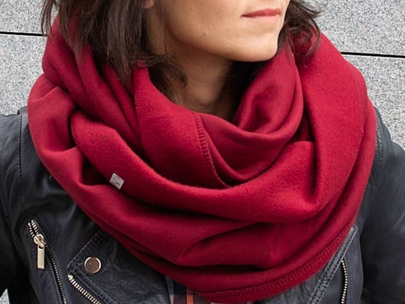 CHUNKY Infinity Scarf, winter infinity scarf, BURGUNDY cotton jersey sweatshirt infinity scarf, tube scarf, hooded scarf, gift for mum