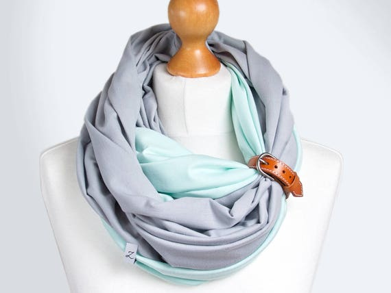 Infinity scarf with leather cuff, infinity scarves, fashion scarf, cotton jersey scarf , ZOJANKA, spring cotton loop with leather strap