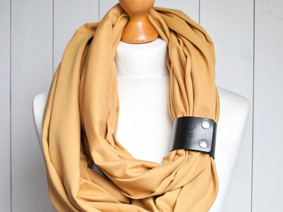 Infinity SCARF Shawl, Lightweight cotton scarfwith leather clasp/cuff bracelet, HONEY  oversized infinity scarf, tube scarves, LARGE scarf